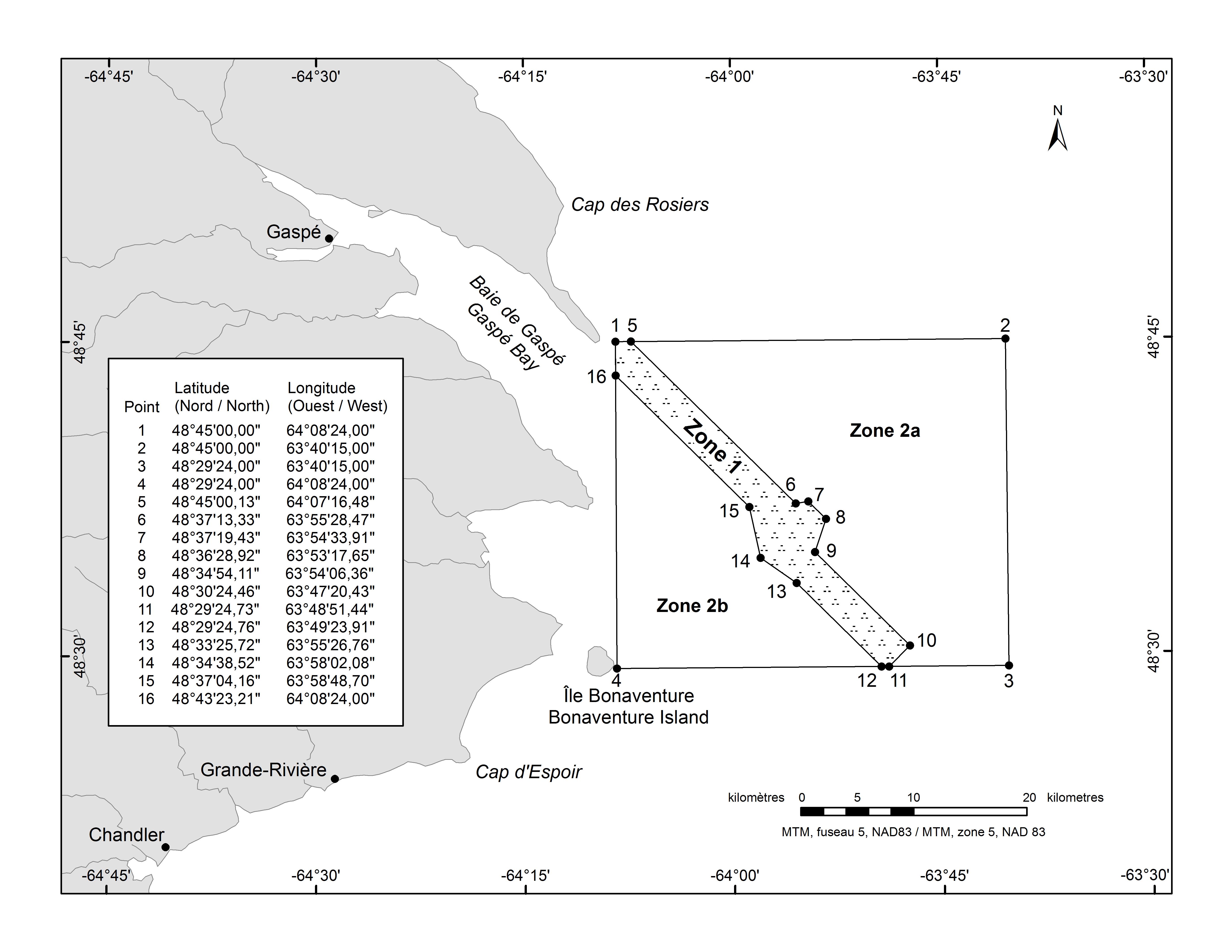 Carte de Zone de protection marine du Banc-des-Américains
